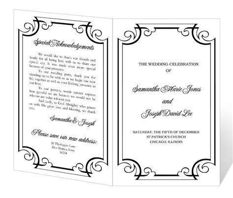 Wedding Program Template Word   cyberuse