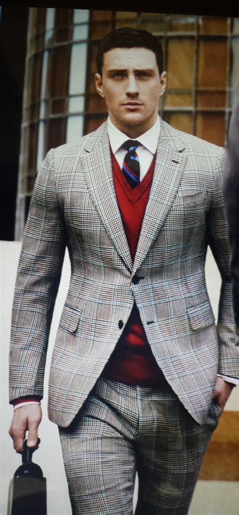 mens grey plaid suit red  neck sweater white dress