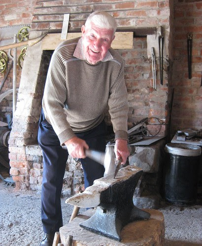 Barney Devlin rings the anvil, Hillhead forge