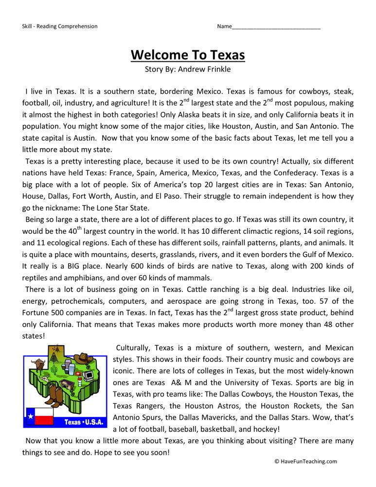 Reading Prehension Worksheet Wel E To Texas