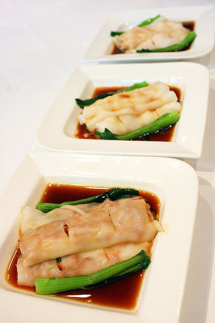 Three varieties of steamed rice rolls - BBQ pork & parsley, prawn & yellow chives, scallop & water chestnut