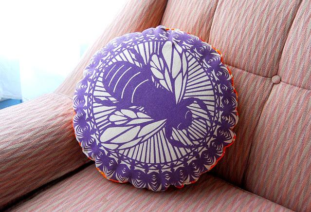 Purple Round Bee Pillow