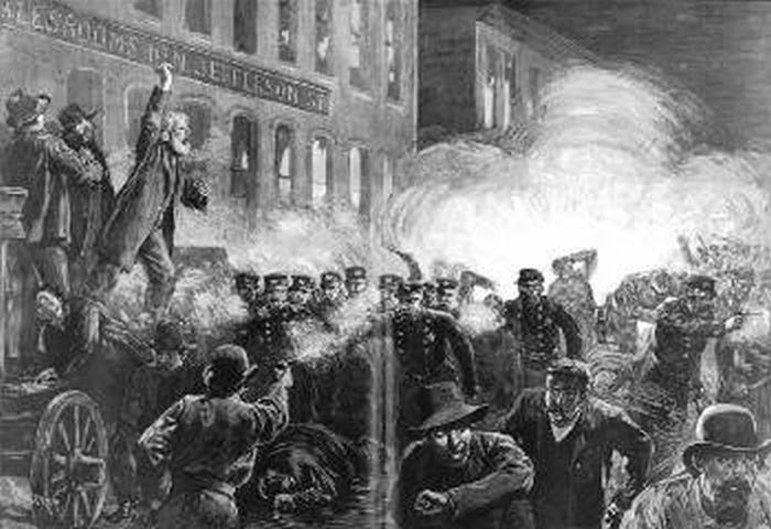 Εργο που απεικονίζει την ιστορική απεργία στο Σικάγο