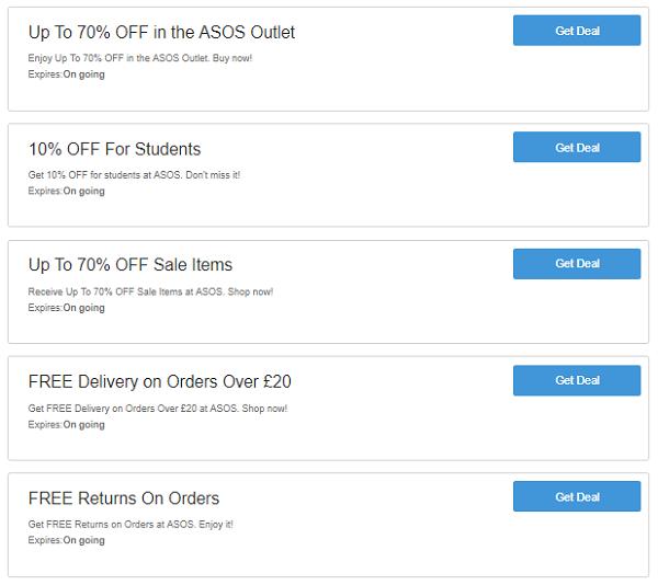 asos codes discount uk