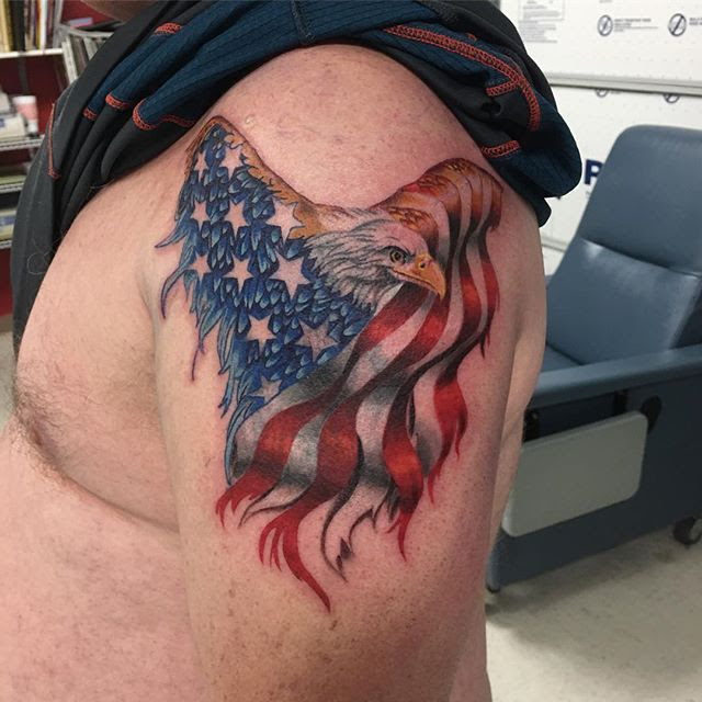 American Flag Eagle Tattoo Veteran Ink
