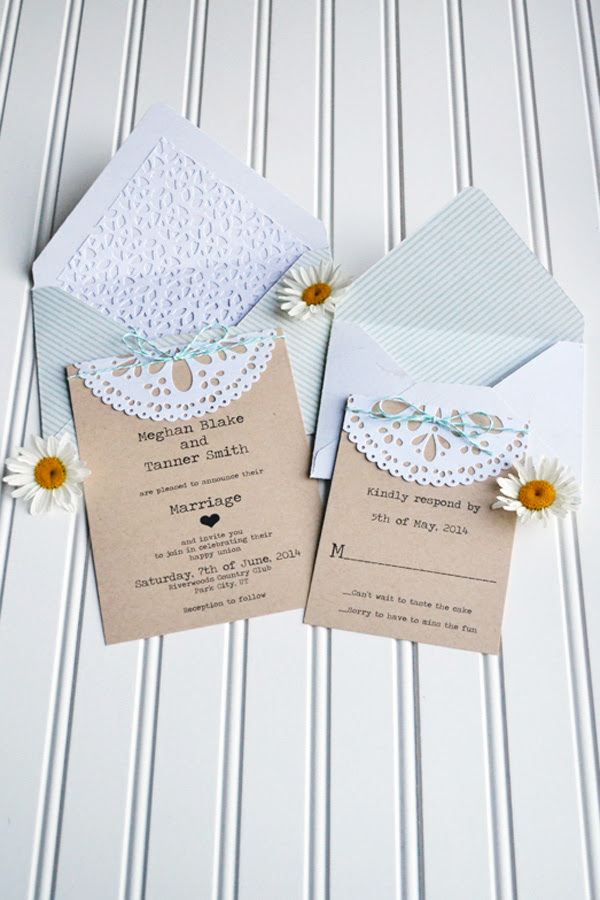 We R DIY Doily Wedding Invitations by Aly Dosdall