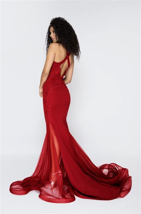 Pia Michi 1831 red evening dress  Pia Michi dress   Pia Michi