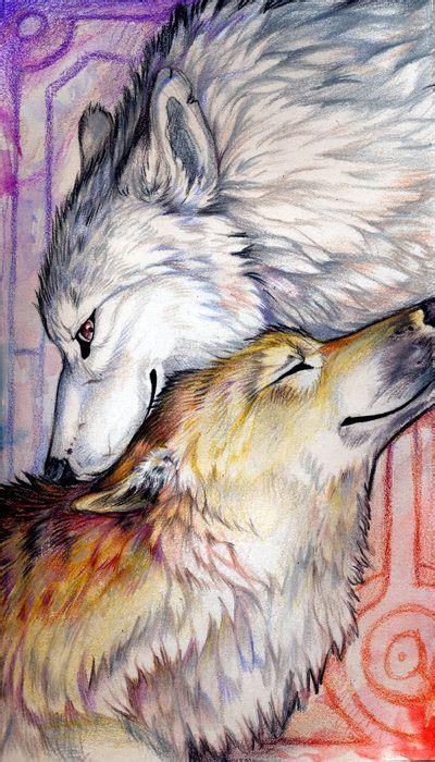 beloved couple  exileden  deviantart wolf painting