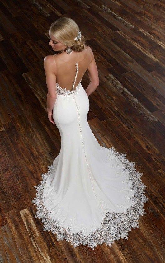 moderne Romantik Meerjungfrau Hochzeitskleid mit illusion zurück auf den Knöpfen und einem Spitzen-Rock-Kante