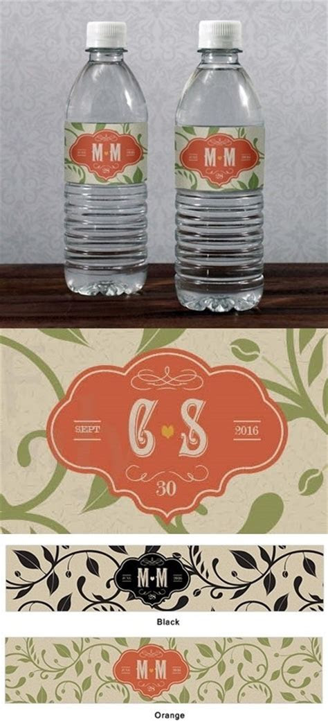 Wine Country Theme Monogrammed Water Bottle Labels (Set of