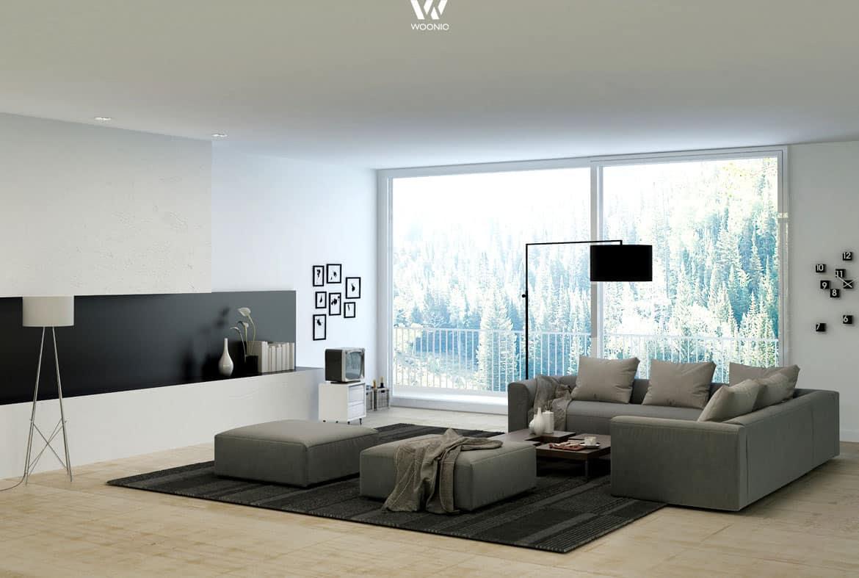 Grau und Schwarz wirkt immer sehr edel im Wohnzimmer ...