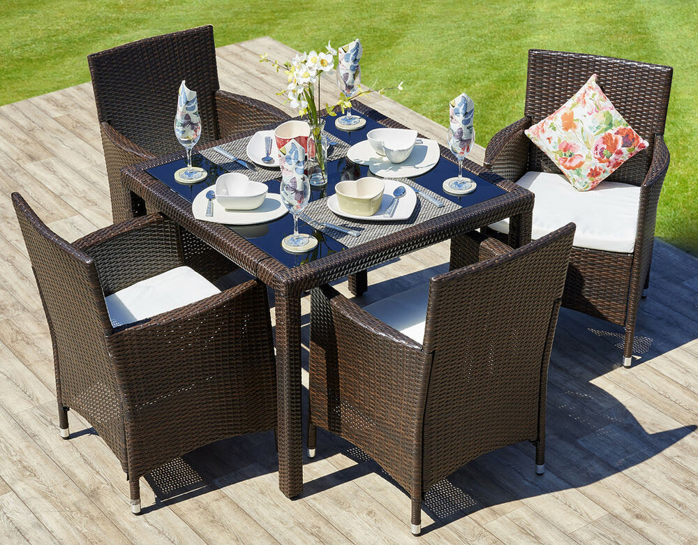 Rattan Outdoor Garden Furniture Dining Table Set 4 Chairs ...