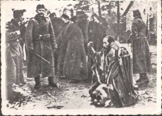 Meir Dagan's grandfather kneels, moments before his death.