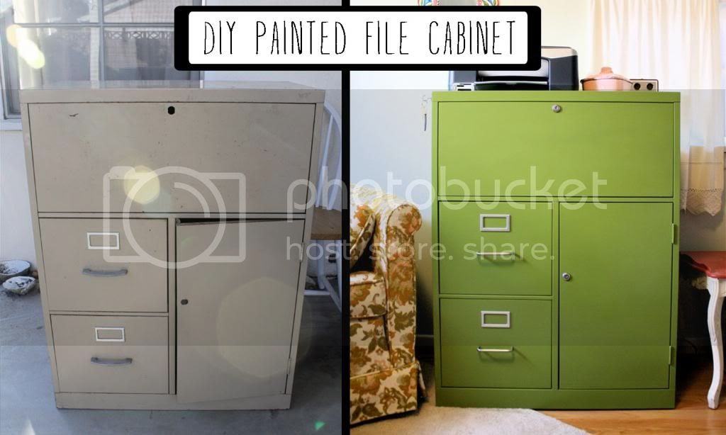 Diy painted filing cabinet mint green sewing machine for How to paint metal file cabinet