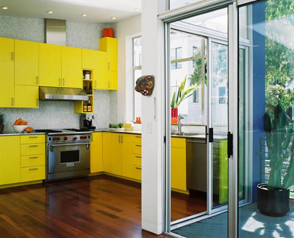 modern yellow kitchen set theme design