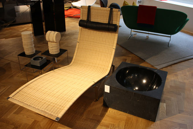 029 'PK24' wicker lounger, one of a collection of reissues in the new showroom by Poul Kjærholm from 1965