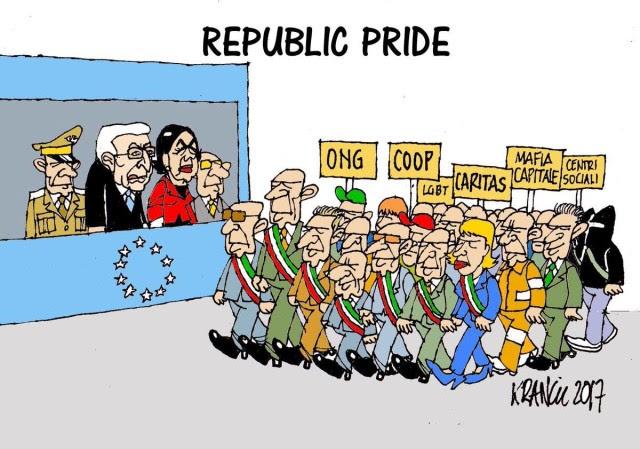 La vignetta di Alfio Krancic, imperdibile, sulla querelle dei mancati applausi del presidente della Camera Laura Boldrini al passaggio della Folgore il 2 Giugno a Roma...