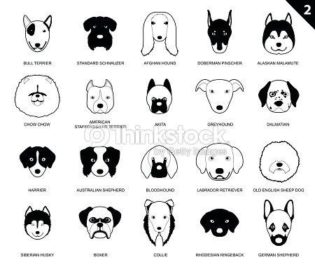 Perro Caras Trazo Monocromo Icono De Dibujos Animados 2 Arte