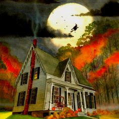 All Hallow's Evening🍁🌙(looks like my farmhouse)
