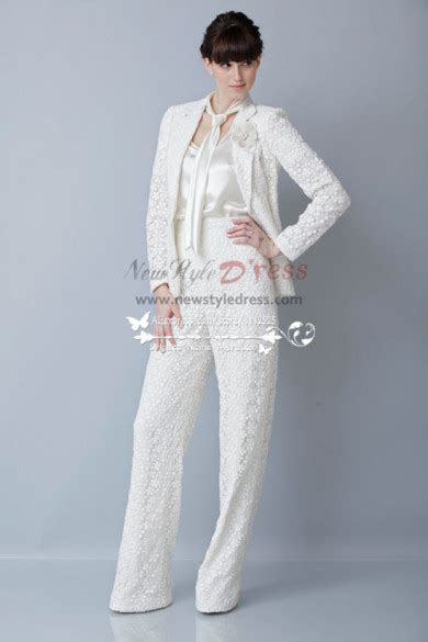 Modern fashion Spring Bridal Lace Pant Suits for wedding