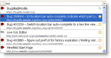 Two lines location bar autocomplete