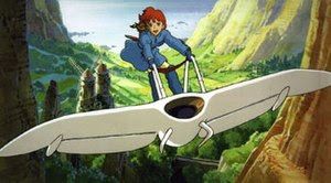 Nausicaä flying her Mehve over the Valley of t...