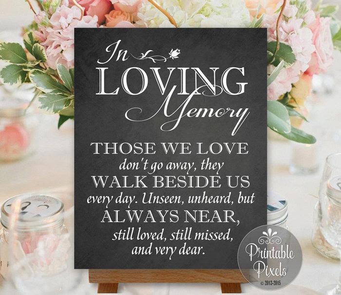 In Loving Memory In Honor Remembrance Chalkboard Printable Wedding