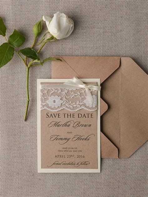 Save The Date Cards (20), Rustic Lace Save The Date, Eco