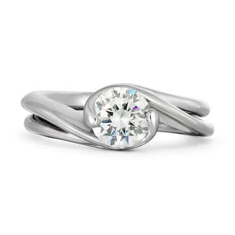 Contour Double Band Round Solitaire Engagement Ring