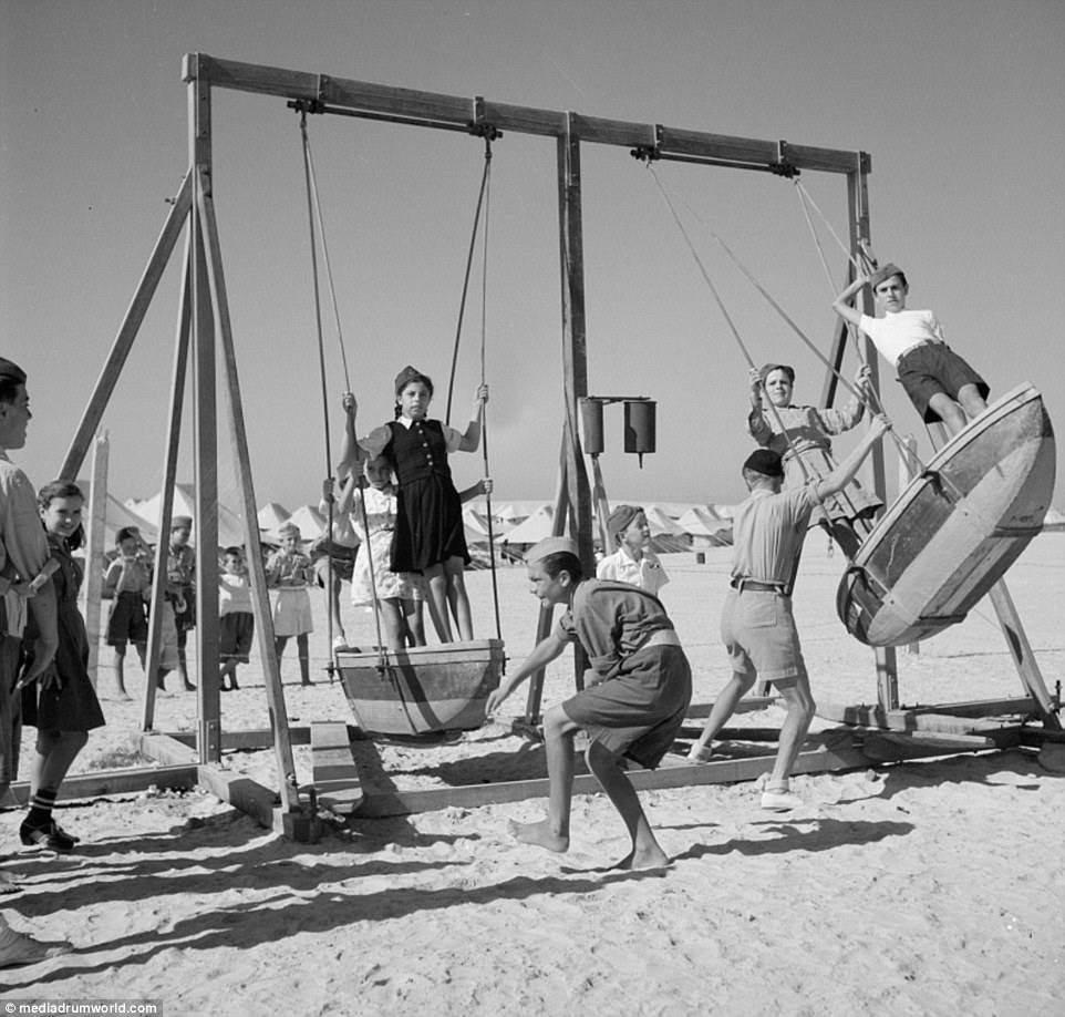 The camp, which sat right on the water (a beach swing set pictured above), was divided into five smaller bases. Refugees lived in tents, large enough to hold one or two families