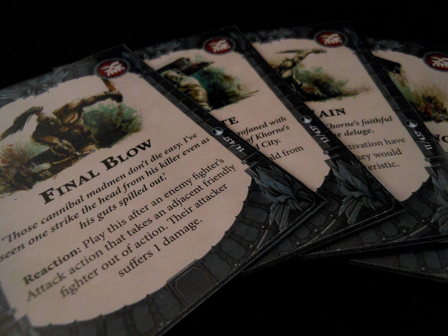 A selection of Warhammer Underworlds: Shadespire power cards for the bloodreaver warband.