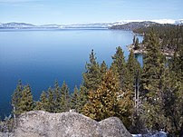 Nevada shore of Lake Tahoe around the barge <span class=
