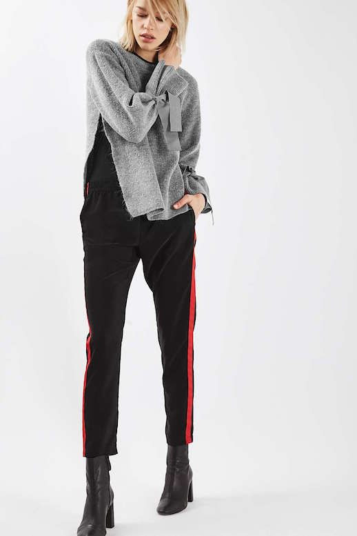 Le Fashion Blog Must Have Tie Sleeve Grey Sweater Track Pants Heeled Boots Via Topshop