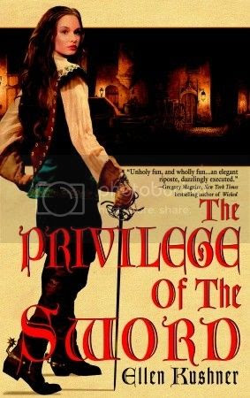 cover art for The Privilege of the Sword, featuring a girl with long brown hair wearing trousers and holding a sword against a tan background
