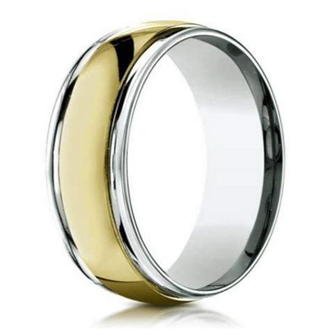 Men's Designer Two Tone 18k Gold Wedding Band