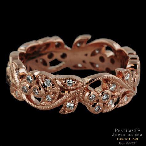 beverley  kt rose gold diamond filigree band