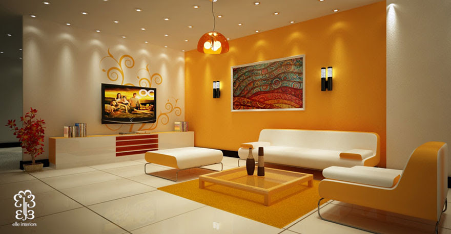 Beautiful Yellow Living Room with Modern Ceiling Light - Interior ...