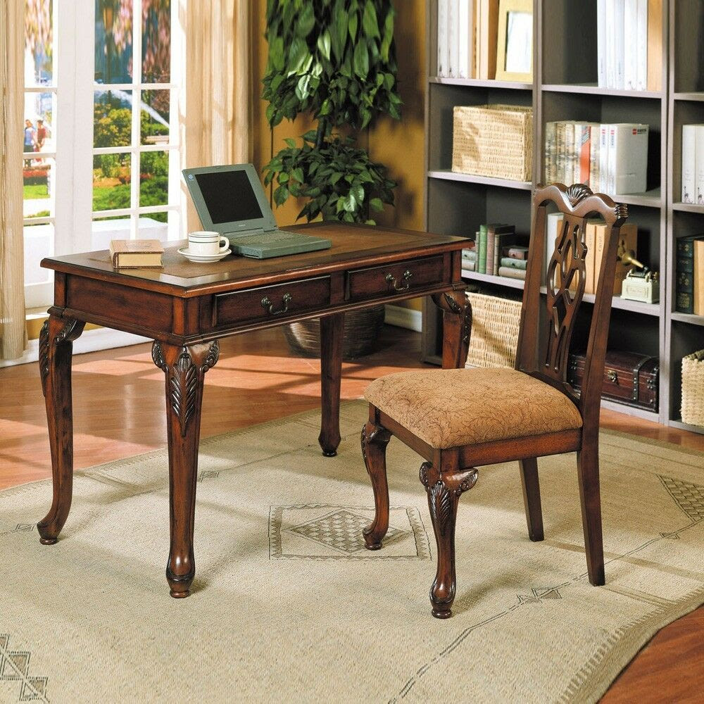 Home Office Writing Study Computer Wood Table Desk 2 Drawers Chair Brown Cherry  eBay