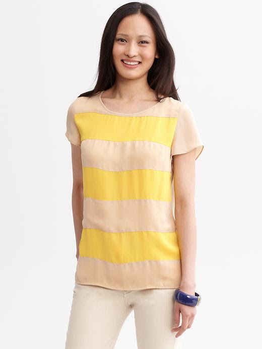 Banana Republic Striped Zip-Back Top