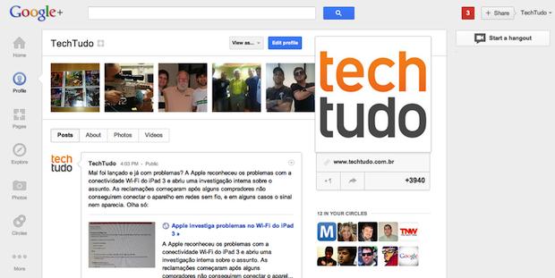 Novo Google+ (Foto: Reprodução/TechTudo)