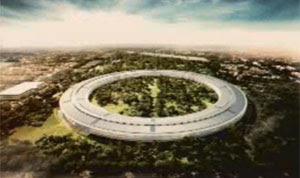 Imagem do projeto da sede da Apple em forma de nave espacial (Foto: Reprodução)