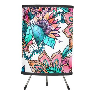 Modern turquoise pink floral watercolor lamp shade