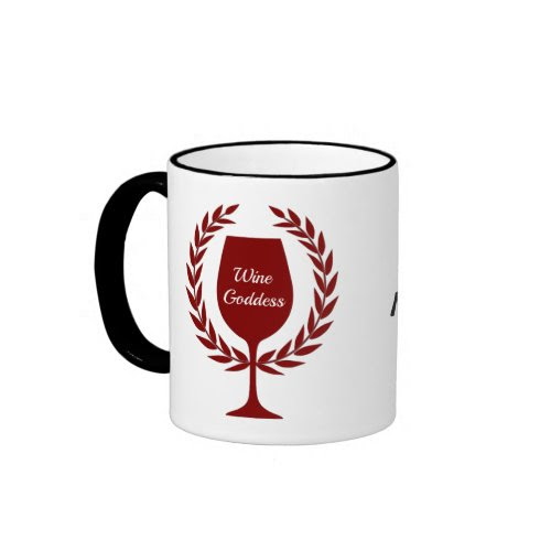 Wine Goddess Red Wine Glass and Wreath Accent Ringer Coffee Mug