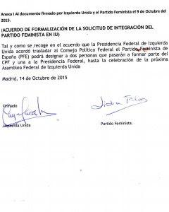 Documento de adscripción del PFE a Izquierda Unida.