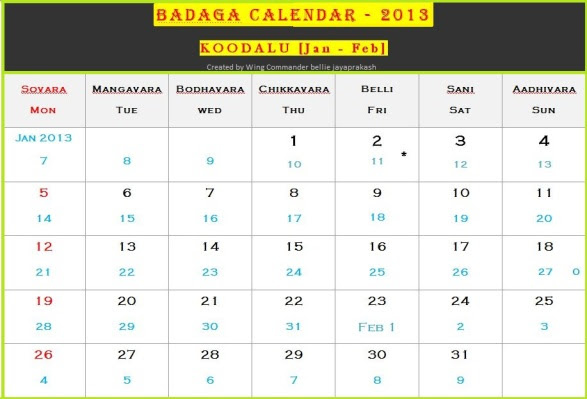 Badaga Calendar 2013