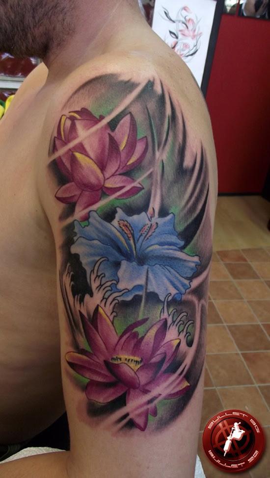 Man Left Half Sleeve Lotus Tattoo