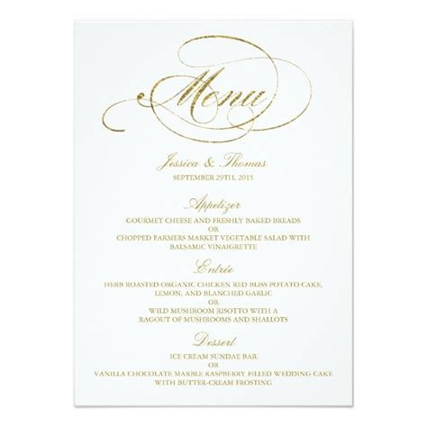 Chic Faux Gold Foil Wedding Menu Template Card   Elegant