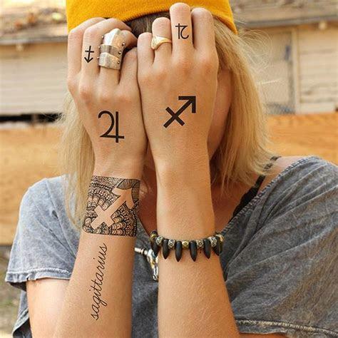 sagittarius astrology symbols temporary tattoo set set