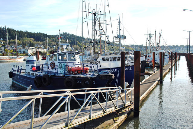 Boats parked at the docks - Astoria, Oregon