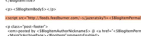 paste FeedFlare kode ke template blog